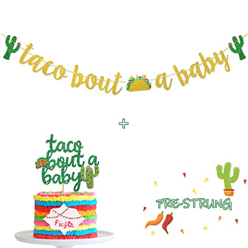 Taco Bout A Baby Gold Glitter Banner Sign Garland for Mexican Fiesta Themed Baby Shower Decorations