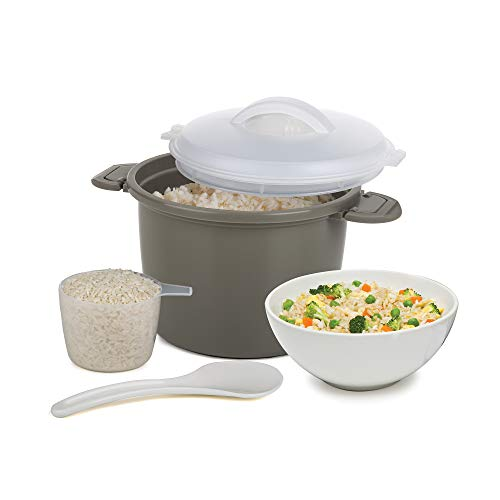 - Progressive International PS-96GY Set Microwave Rice Cooker, 4 Piece, Gray