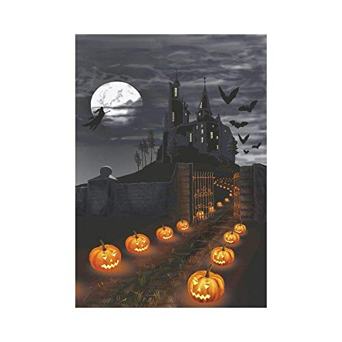 Pingshoes Creative Halloween Castle Pumpkins Polyester Garden Flag Outdoor Banner 28 x 40 inch, Witch Flying in Full Moon Night Decorative Large House Flags Party Yard Home Decor