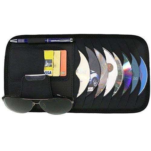 Vulcan-x CD Sun Visor Organizer Detachable Portable PU Leather with 8 CD Slots + 3 Credit Cards Pockets + 1 Sunglasses Holder + 1 Pen - Slipping Sunglasses