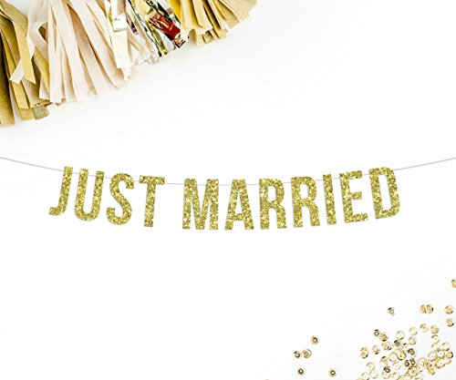 (Just Married Gold Glitter Party Banner )