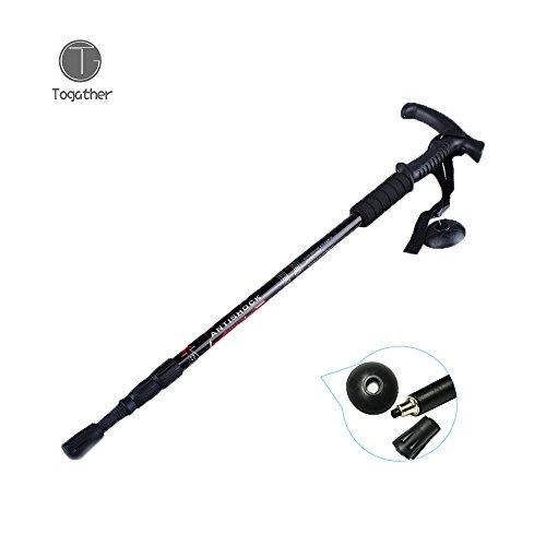 Togather® Ultra Anti-Rutsch-Teleskop-Anti Shock Curved Wanderstöcke Reise Trekkingstöcke Wanderstöcke Griff Rucksack Cane gehende kletternde (Schwarz)
