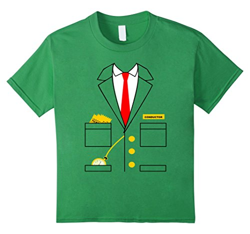 unisex-child Train Conductor Costume T Shirt for Adult or Kids 6 Grass