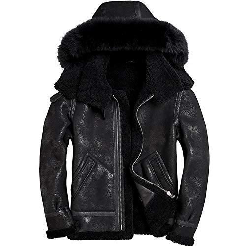 0ad888cc9e Men s Sheepskin Shearling Jacket Detachable Hooded B3 Flight Jacket Fox Fur  Collar Aviator Coat - Buy Online in Oman.