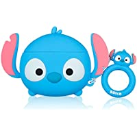 Lupct Funny Animal Cartoon Silicone Case for Airpods (Light Blue Stitch)