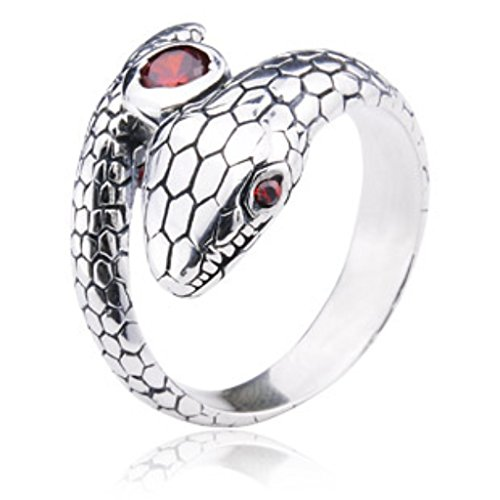 Thai Silver Snake - ANAZOZ Stainless Steel Men Ring 925 Silver Male Female Thai Silver Cool Snake Cz Eye Store by Weight