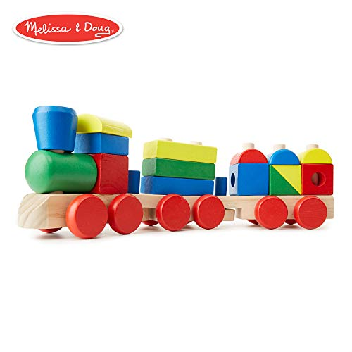 Melissa & Doug Stacking Train (Classic Wooden Toddler Toy, 18 Pieces) ()