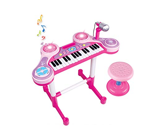 - Mozlly Pink Keyboard Drum with Microphone & Stool Band Set, Light Up Piano Drum Set Battery Operated Musical Instrument for Roleplaying Workshop Music Entertainment Themed Toys & Games Play Set