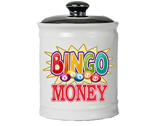 Tumbleweed Bingo Money - White Ceramic Jar With Lid - Bingo Gifts - Bingo Lover Gifts - Gifts For Women by Tumbleweed