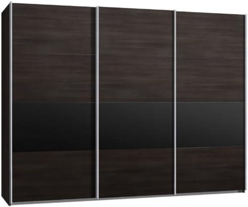 Armario de puertas correderas, puerta corredera, 3trg., aprox 300 cm, madera de roble marrón con rayas negras, armario: Amazon.es: Hogar