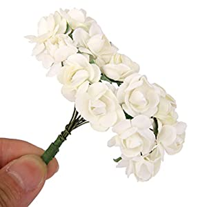 144pcs Artificial Paper Rose Flower Buds Mini Bouquet Party Decor- Ivory 3