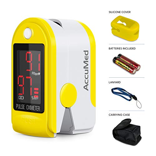 - AccuMed CMS-50DL Fingertip Pulse Oximeter Finger Pulse Blood Oxygen SpO2 Monitor w/Carrying case, Landyard Silicon Case & Battery (Yellow)