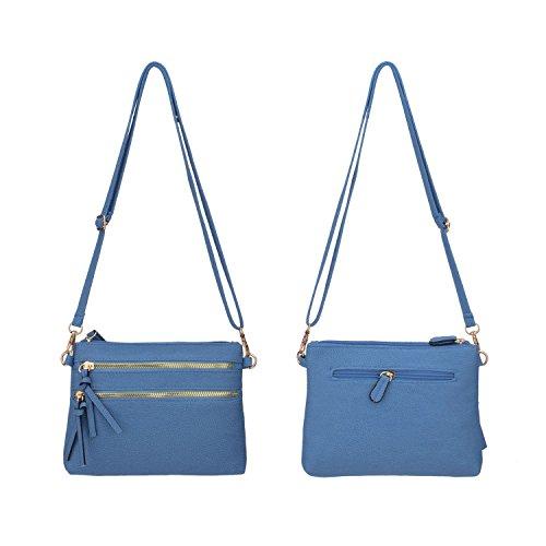 Women Mini Small Sky Functional Blue Bag PU Pocket Leather Purses JIARUO Multi Zipper Crossbody pFwYnU1qn