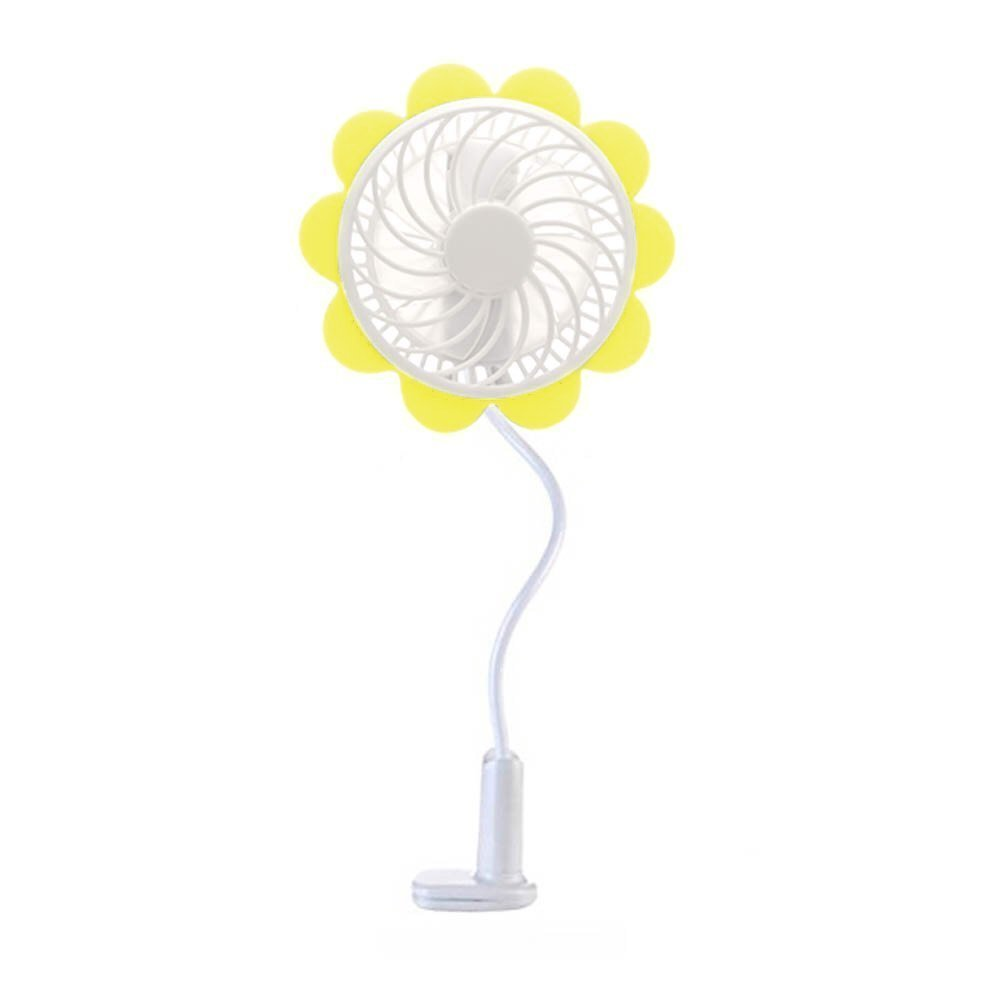 Baby Breeze Portable USB Rechargeable Fan - Yellow Sunflower Design, Baby Stroller Fan Premium Cooling Fan with an Adjustable Neck, Variable Speeds - Baby Stroller - Office Desk - Home - Car Fan