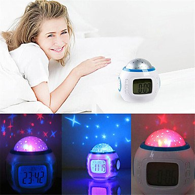 ... Creative childrens night light Music Starry Star Sky Digital Led Projection Projector Alarm Clock Calendar Thermometer horloge reloj despertador: Baby