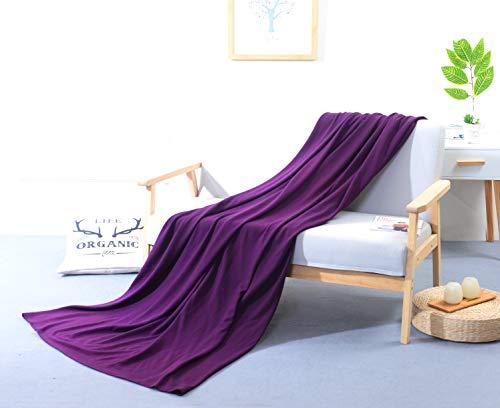 PuTian Australian Ultrasoft Merino Wool Blanket Silky Throw for Summer Lightweight,Grape Juice, 80by52 inches