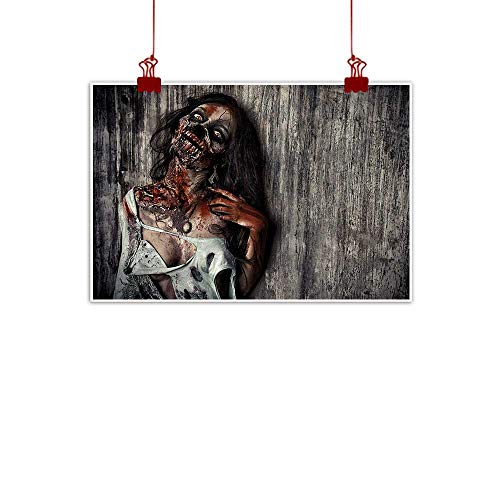 duommhome Zombie Printed Wall Art Oil Painting Angry Dead Woman Sacrifice Fantasy Design Mystic Night Halloween Image Modern Minimalist Atmosphere W31 xL24 Dark Taupe Peach -
