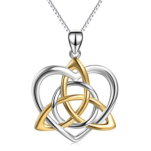 Celtic Necklace Sterling Silver Gold Plated Good Luck Irish Vintage Triquetra Trinity Celtic Love Knot Pendant Necklace for Women Girls Mother Daughter Girlfriend Sisters (Knots Of Love Heart Necklace)