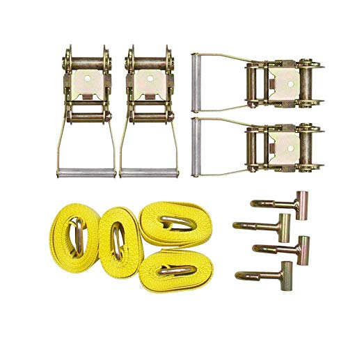 BANG4BUCK 12 Pieces Combo Towing Kit 4X Lasso Straps Wheel Lift Strap 4 x 2 Ratchet, 4 xJ Finger Hooks