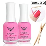 Liquid Latex for Nails Nail Protector - Ejiubas Peel Off Liquid Latex Nail Polish Barrier Cuticle Guard Skin Barrier Manicure Liquid Tape for Nails with 10pcs Wooden Sticks