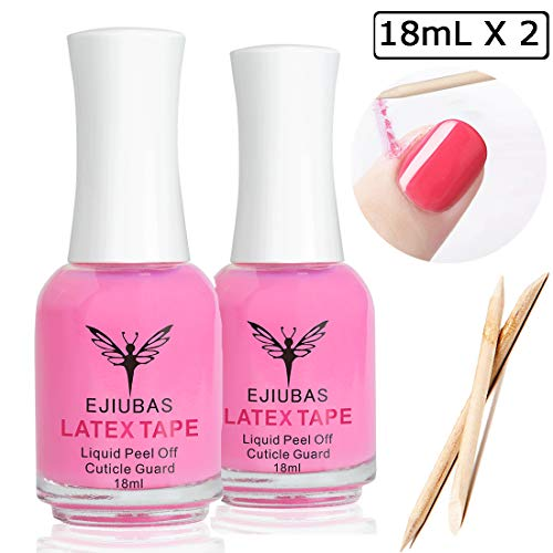 Liquid Latex for Nails Nail Protector - Ejiubas Peel Off Liquid Latex Nail Polish Barrier Cuticle Guard Skin Barrier Manicure Liquid Tape for Nails with 10pcs Wooden Sticks (Best Nail Polish To Use For Stamping)
