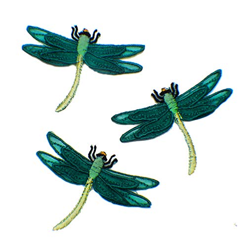- 3 Pcs Cute Dragonfly Delicate Embroidered Patches, Cute Embroidery Patches, Iron On Patches, Sew On Applique Patch,Cool Patches for Men, Women, Kids