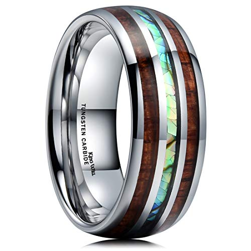 King Will Nature 8mm Mens Tungsten Carbide Wedding Ring KOA Wood & Abaone Shell Inlay Dome Style Band 10 -