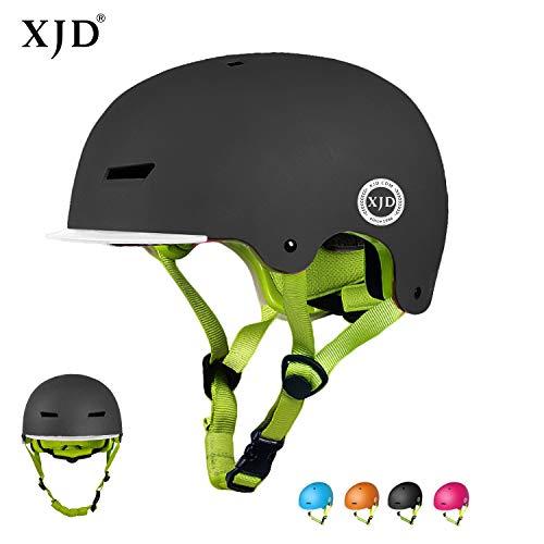 XJD Toddler Helmet Kids Bike Helmet CPSC Certified Adjustable Bicycle Helmet Kids Helmet Safety Helmet Skateboard Longboard Roller Skate Inline Skating Scooter 3-13 Years Old Helmet (Black, M)