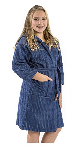 Unisex Boy's and Girl's spa Bathrobes, Size Small, Navy Robe ()