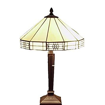 Whse Of Tiffany T14M113 Tiffany Style Mission Style Table Lamp, White