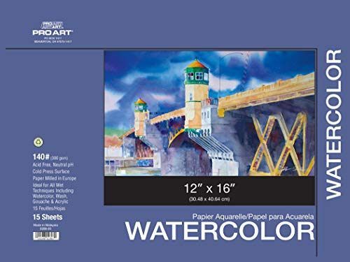 PRO ART 12-Inch by 16-Inch Watercolor Paper Block 140-Pound Art Block Paper Painting