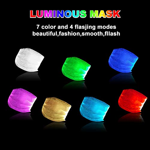 Light Up Face Mas LED Rave мαsk 7 Colors Luminous Fun Rechargeable Radiation Face Mas for EDM EDC Men Women Christmas Party Festival Masquerade Costumes Glow in The Dark (White)