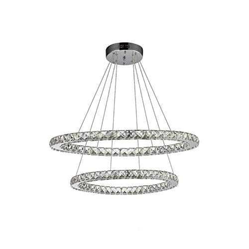 Ikakon Crystal Chandeliers 2 Round Rings DIY LED Pendant Lamp Modern Ceiling Lights Fixtures Adjustable Cable Chandelier Lighting for Living Room Bedroom Dining Room