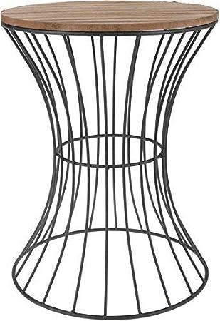Mesa Auxiliar De Diseno De Metal Con Sobre De Madera Mesa Decorativa Con Estructura De Metal Curvado Madera Metal 39 5 Cm X 30 Cm