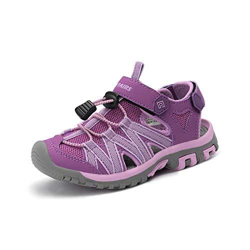 DREAM PAIRS Boys Girls 181108K Purple Lt. Purple Closed-Toe Outdoor Summer Sandals Size 5 M US Big Kid