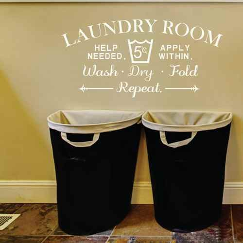 Laundry Room Decal Vinyl Wall Decal Sticker Laundry Room Wall Decor Sign Home Decor (Dark brown,xs)