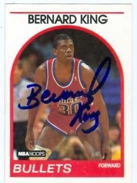 phed basketball card (Washington Bullets) 1989 NBA Hoops #240 - Autographed Basketball Cards (Bernard King Autographed Basketball)