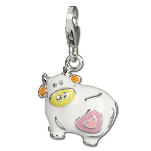 SilberDream Charm colorful enameled cow LOVE 925 Sterling Silver Pendant Lobster Clasp (Enameled Cow Charm)