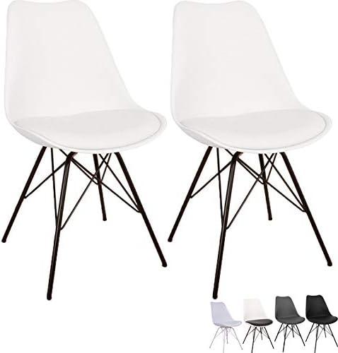 Nimara 2er Set Comfort Stuhl in skandinavischem Design   Esszimmerstühle und Küchenstühle   Stühle in Schwarz, Weiß, Grau und Mehreren Farben  