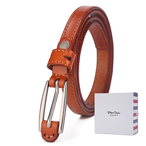 BISON DENIM Women's Stylish Thin Patent Genuine Leather Skinny Waist Belts For (Genuine Leather Thin Dress Belt)
