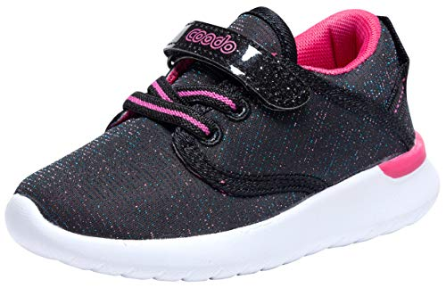 COODO Toddler Kid's Sneakers Boys Girls Cute Casual Running Shoes (5 Toddler,Black Peach)