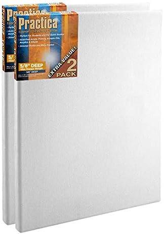 "16X20 Box of 20 Bulk Discount 5//8/"" Econo Black Economy Stretched Canvas Panels"