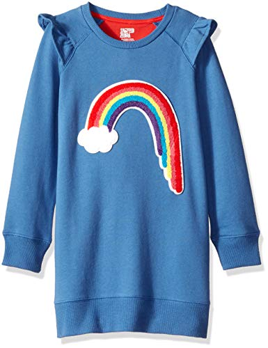 Spotted Zebra Little Girls' French Terry Knit Ruffle Raglan Dress, Rainbow, Small (6-7) (Girls Dress Zebra)