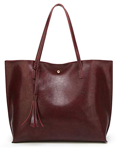 Women's Soft Leather Tote Shoulder Bag from Dreubea, Big Capacity Tassel Handbag Dark Red (New Style) (Tote Leather Retro)
