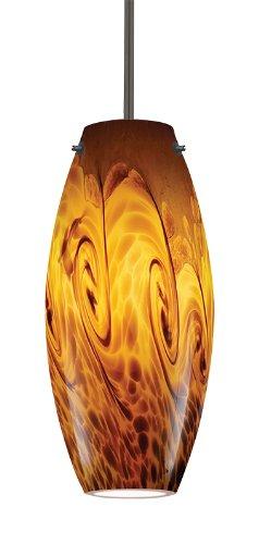 Juno Lighting P88MPLA2-BRZ-AMS Charlotte 5W 12V 2700K LED MonoPoint Pendant with Amber Storm Art Glass Shade, Vintage Bronze Finish