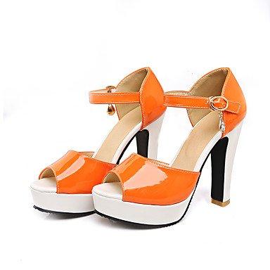 LvYuan Mujer-Tacón Robusto-Otro-Sandalias-Oficina y Trabajo Fiesta y Noche Vestido-Cuero Patentado-Amarillo Negro Naranja Orange