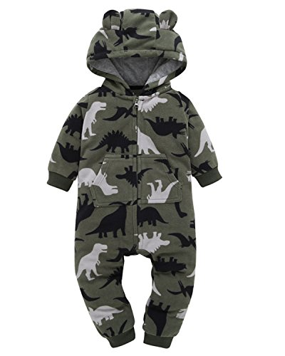 Kidsform Baby Hooded Romper Girl Boy Cotton Onepiece Footless Pajamas Sleep And Play Outfits dinosaur 3-6 Months