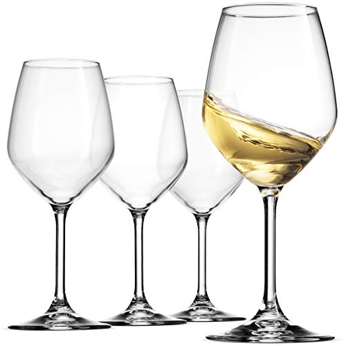 Bormioli Rocco 14.75 oz White Wine Glasses (Set Of 4): Crystal Clear Star Glass, Laser Cut Rim For Wine Tasting, Lead-Free Cups, Elegant Party Drinking Glassware, Dishwasher Safe, Restaurant Quality