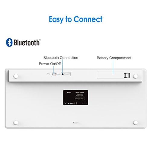 JETech 2156- Universal Bluetooth Wireless Keyboard, Portable, White by JETech (Image #2)