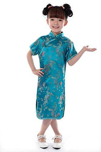 AvaCostume Girls Chinese Dragon Phoenix Qipao Cheongsam Dress, 12, Lakeblue (Traditional Chinese Dress)